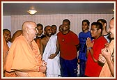 Swamishri asks the youths from abroad about the nagar yatra
