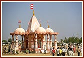 A temporary mandir on the celebration ground